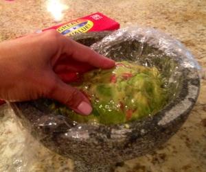 Wrap guacamole carefully to preserve it!