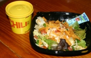 Wendy's chili and side salad.