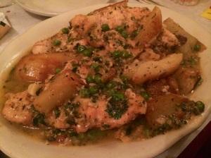 Chicken vesuvio at La Scarola Italian restaurant in Chicago.