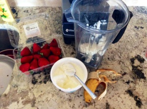 All smoothie ingredients assembled and ready to go!