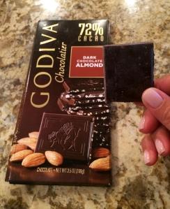 I'm eating Godiva 72% dark chocolate almond right now!
