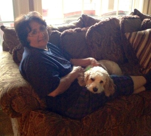 My mom even enjoys her cuddle time with my dogs!