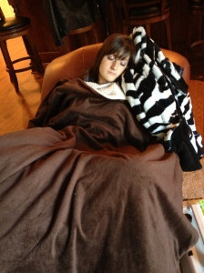 Danz napping after her knee surgery- a very necessary nap!