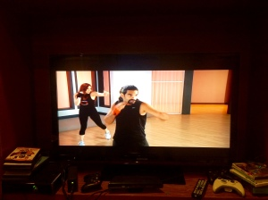 This is what the workout, Kickboxing Cardio Power, looks like onscreen.