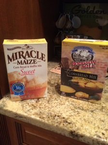Corn muffin mixes I had on hand- one gluten free and one regular!