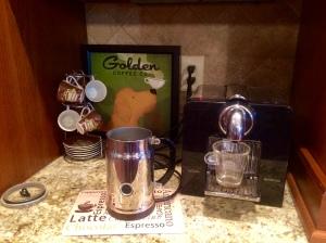 My coffee area highlighted by my Nespresso espresso machine!
