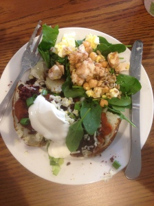 Salads are your friend! Baked potatoes too!