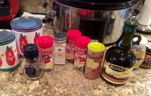 Rub meat with olive oil and dry ingredients!