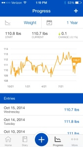 Weight tracker portion of the app.