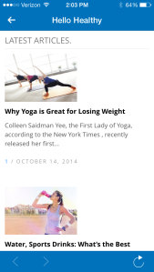 Useful information and articles contained on the app.