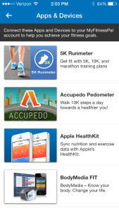 Connect other apps and devices to My Fitness Pal.