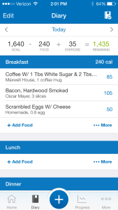 The diary on My Fitness Pal!