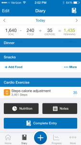 This is what the diary looks like on My Fitness Pal!