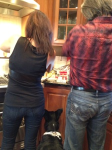 Making stuffing is a team effort during my family Thanksgiving!