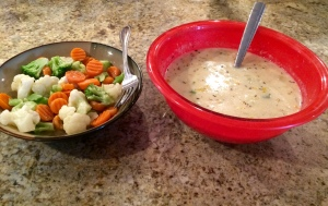 Chicken corn chowder with a bowl of mixed veggies!