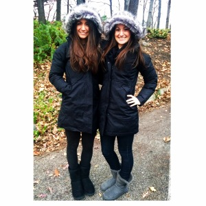 My babies were smiling earlier in the winter too- now they're freezing walking around their college campus!