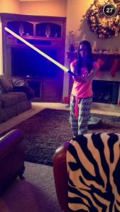 Jac and a light saber!