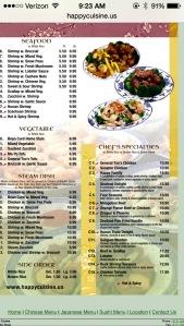 Typical Chinese menu.