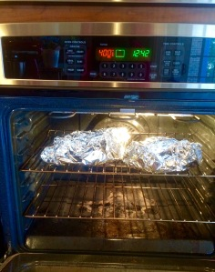 Fishies in foil, cooking away in the oven!