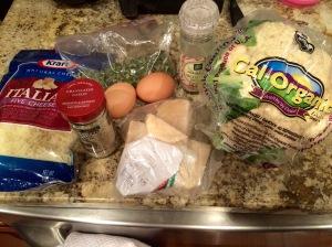 Ingredients for cauliflower pizza crust!