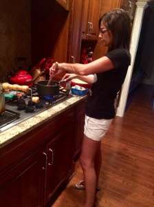 Stirring the caramel!