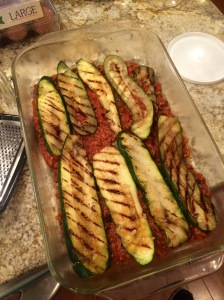 Grill the zucchini and start the layering of the lasagna!